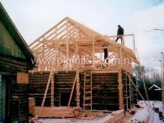 Строительство крыши сруба