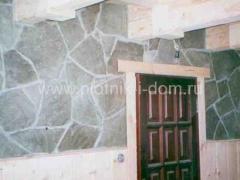 Отделка стен камнем внутри дома