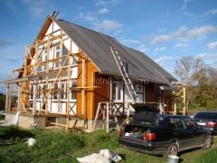 Комбинированная отделка каркасного дома